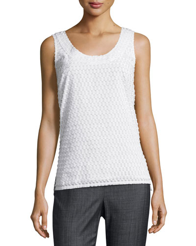 Geo Fil Coupé Scoop-Neck Shell, White