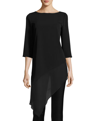 Cady Asymmetric-Hem 3/4-Sleeve Top, Black