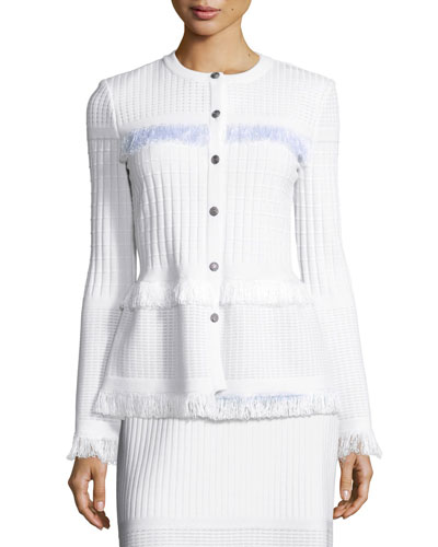 Illusion Grid Knit Jewel-Neck Jacket, White