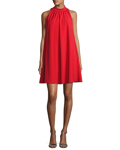 Sleeveless Mock-Neck Crepe Swing Dress, Red