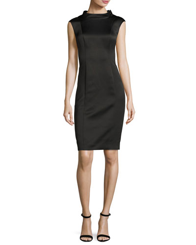 Sleeveless Stretch Satin Cocktail Dress, Black