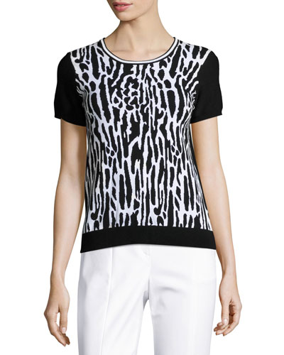 Leopard-Jacquard Short-Sleeve Sweater, Black/White