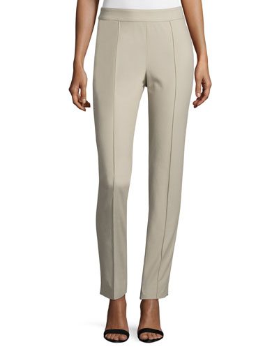 Pintucked Piqué Ankle Pants, Beige