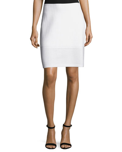 Illusion Grid Knit A-Line Skirt, White
