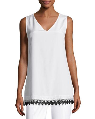 Lace-Hem V-Neck Shell, White/Black