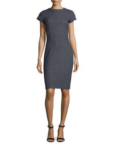 Chevron Tweed Sheath Dress, Black Pattern