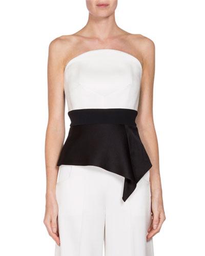Penn Strapless Peplum Bustier Top, White/Black