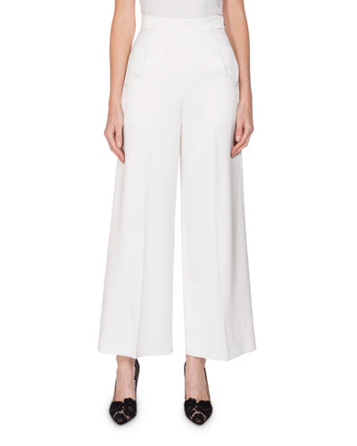 Roland Mouret Linings WARD HIGH-RISE CROPPED PANTS, WHITE