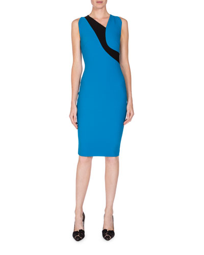 Sleeveless Asymmetric-Neck Colorblock Dress, True Blue