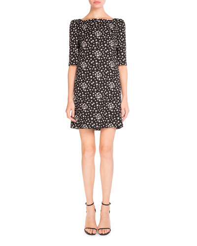 Half-Sleeve Star-Print Shift Dress, Black/White