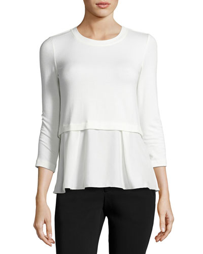 Terry Ruffle-Hem 3/4-Sleeve Top, White