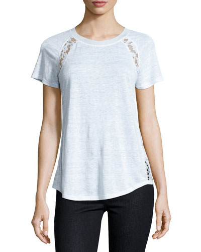 Linen Lace-Trim Tee, White
