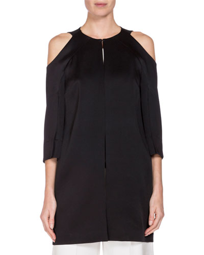 Cassels 3/4-Sleeve Duster Coat, Black