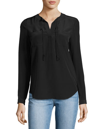Sofia Silk Split-Neck Blouse, Black