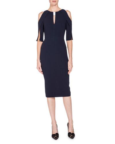Cold-Shoulder Keyhole Sheath Dress, Navy