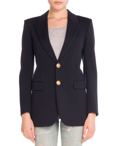 Angie Anchor-Button Wool Blazer, Navy