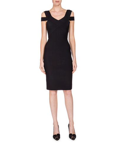 Strappy-Bodice Sheath Dress, Black