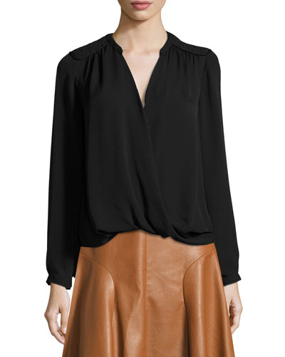 Danielle Silk Surplice Wrap Top, Black