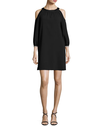 Sicily Crepe Cold-Shoulder Shift Dress, Black