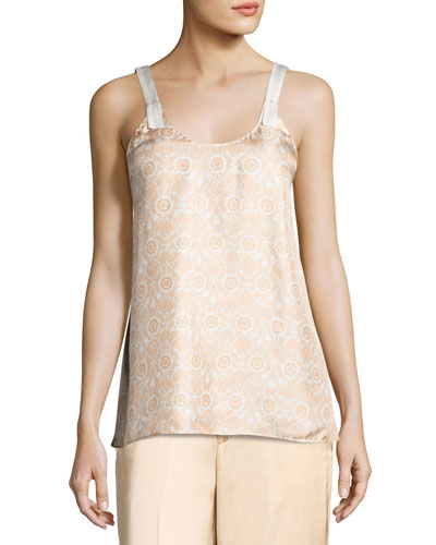 Vine Silk Camisole Top, Orange