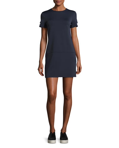 Short-Sleeve Neoprene Shift Dress, Navy