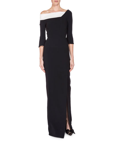Asymmetric-Neck Front-Slit Gown, Black/White
