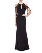 Lace-Sleeve Keyhole Mermaid Gown, Black