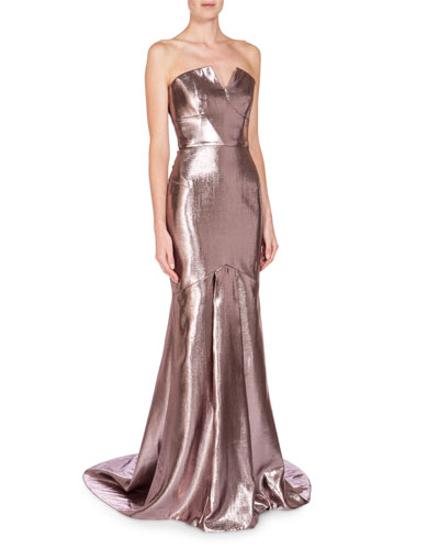 Strapless Metallic Mermaid Gown, Light Rose