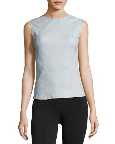 Stretch Leather Shell Top, Opal