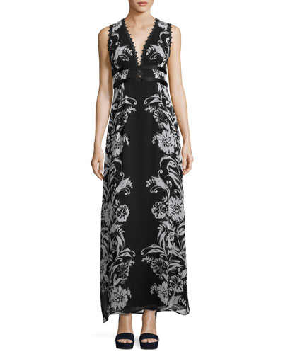 Sleeveless Floral Silk Maxi Dress, Black/Blue