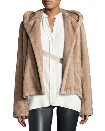 Hooded Faux-Mink Jacket, Neutral