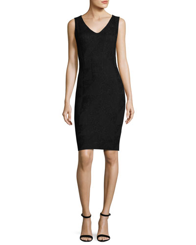 Kiyala Sleeveless V-Neck Knit Dress, Black