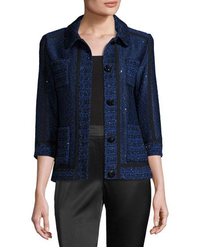 Khari Sequined Knit 3/4-Sleeve Jacket, Blue/White