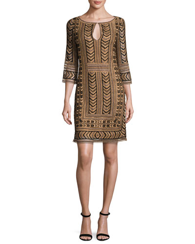 Priya Embroidered Keyhole Shift Dress, Bronze