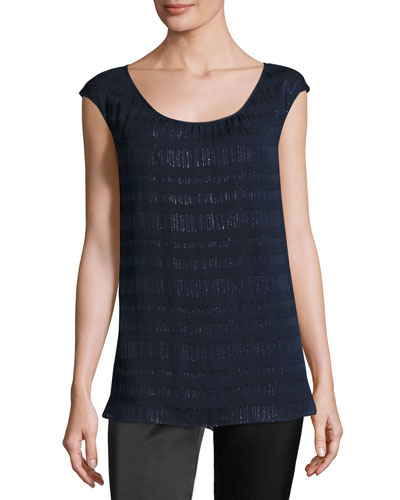 Metallic Crinkled Cap-Sleeve Shell, Blue/Black