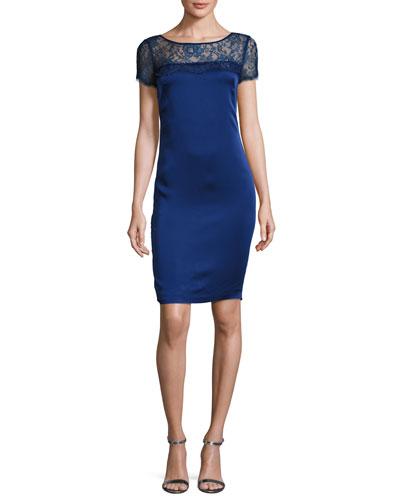 Lace-Yoke Luxe Satin Cap-Sleeve Dress, Violet