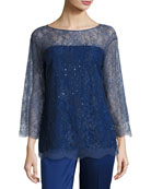 Chantilly Lace 3/4-Sleeve Tunic, Violet