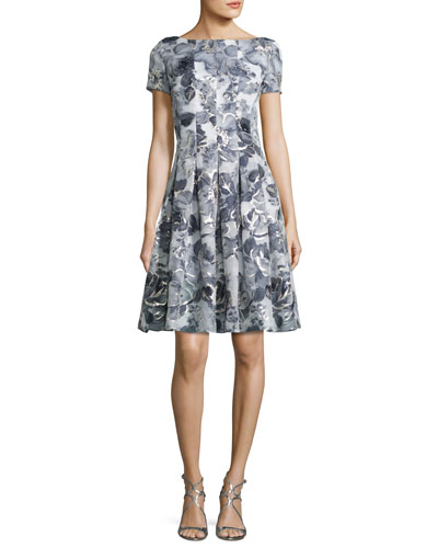 Metallic Etched Floral Short-Sleeve Cocktail Dress, Blue/Silver