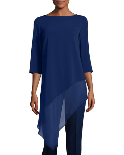 Cady Asymmetric-Hem 3/4-Sleeve Top, Violet