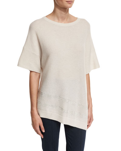 Cashmere Bateau-Neck Half-Sleeve Sweater, Oyster