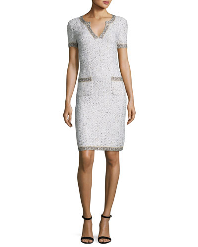 Kira Tweed V-Neck Short-Sleeve Dress, White Pattern