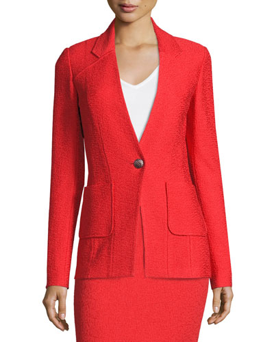 Clair Patch-Pocket Knit Jacket, Red