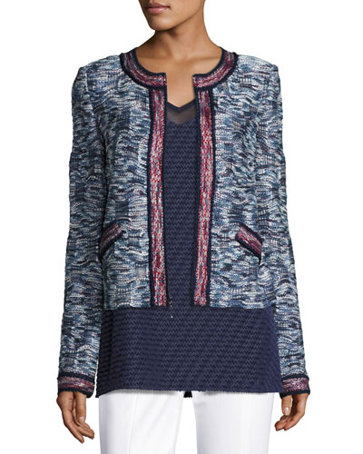 Asha Tweed Knit Zip-Front Jacket, Blue Pattern