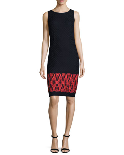 Baruti Knit Scoop-Neck Dress, Blue/Red