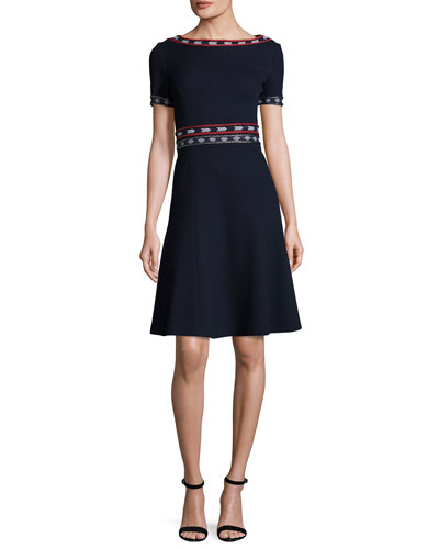 Milano Knit Bateau-Neck Short-Sleeve Flared Dress, Navy