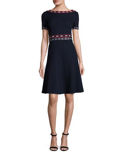 Milano Knit Bateau-Neck Short-Sleeve Flared Dress, Navy