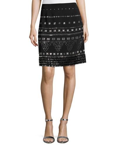Beaded A-Line Mini Skirt, Black