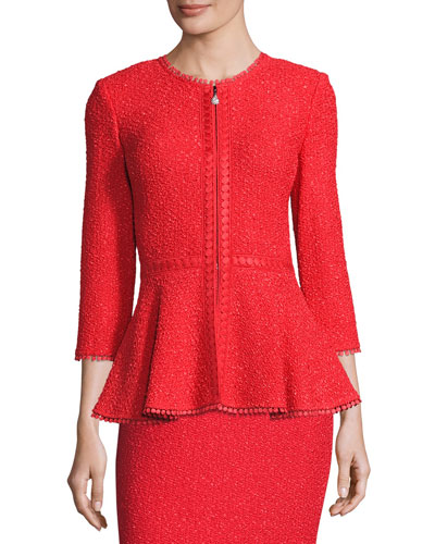 Zula Peplum 3/4 Sleeve Jacket, Red