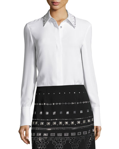 Heavy Georgette Sequined-Collar Blouse, White