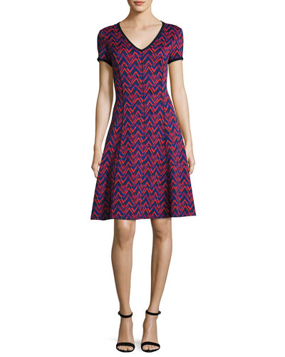 Aziza Zigzag Jacquard V-Neck Dress, Red/Black